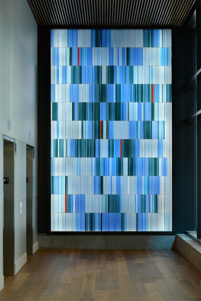 Elevator corridor art glass for ARIAD Pharmaceuticals by Paul Housberg