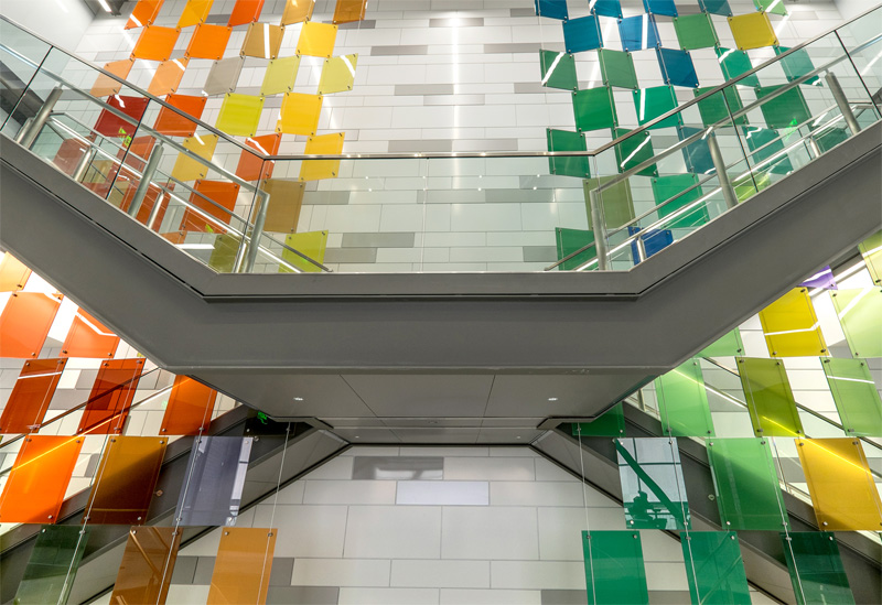 Public art glass installation by Paul Housberg at Michigan State University