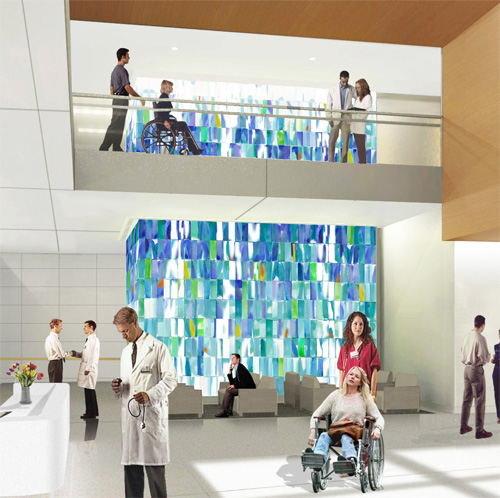 Conceptual rendering for art glass installation by Paul Housberg at Spaulding Rehabilitation Hospital